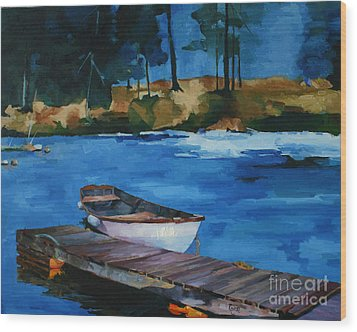 Boat And Bridge Wood Print by Pepe Romero