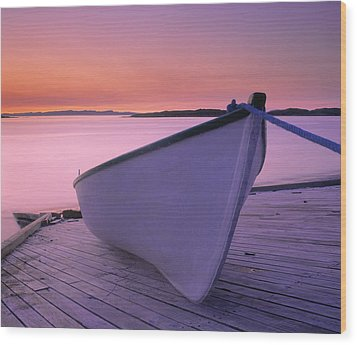 Boat At Dawn, Harrington Harbour, Lower Wood Print by Yves Marcoux