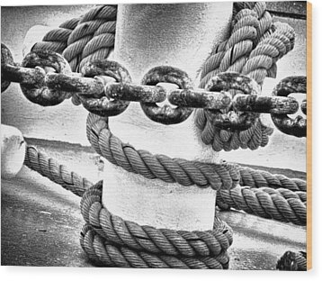 Wood Print featuring the photograph Boat Chain by Kelly Reber