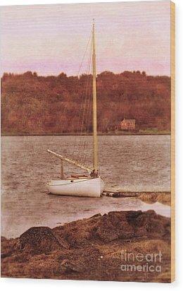 Boat Docked On The River Wood Print by Jill Battaglia