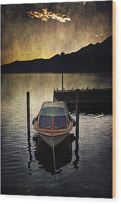 Boat During Sunset Wood Print by Joana Kruse