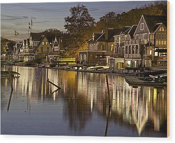 Boat House Row Wood Print by Yaz Allen