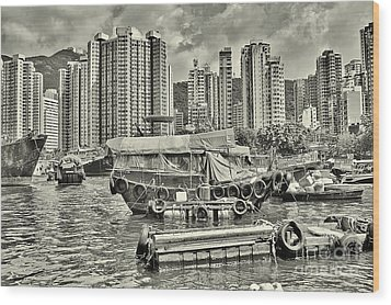 Boat Life In Hong Kong Wood Print