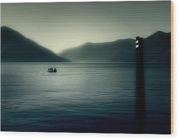 boat on the Lake Maggiore Wood Print by Joana Kruse