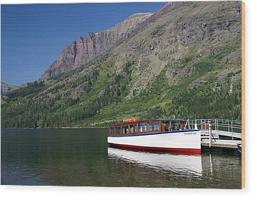 Boat On Two Medicine Wood Print by Marty Koch