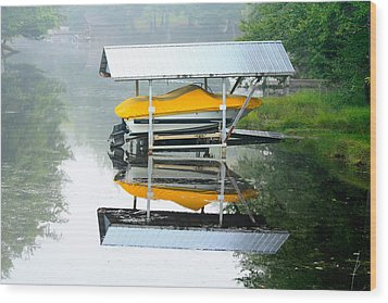 Wood Print featuring the photograph Boat Reflections by Ann Murphy