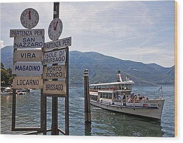 Boat Trip On Lake Maggiore Wood Print by Joana Kruse