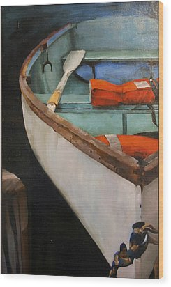Boat With Red Wood Print by Jose Romero