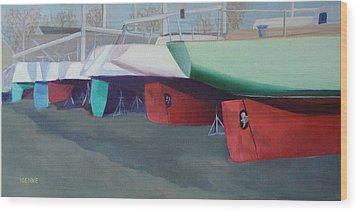 Boat Yard Island Heights Wood Print by Robert Henne