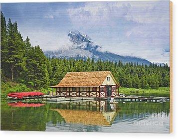 Boathouse On Mountain Lake Wood Print by Elena Elisseeva