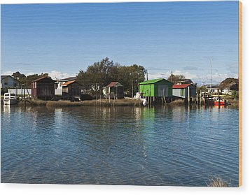 Boathouses Wood Print by Graeme Knox
