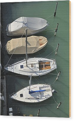 Boats And Water From Above Wood Print by Matthias Hauser