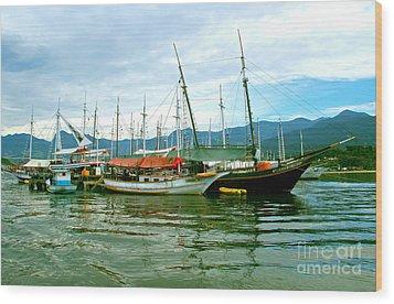 Wood Print featuring the photograph Boats At Paraty Brasil by Nareeta Martin