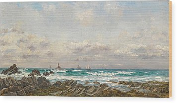 Boats At Sea Wood Print by William Lionel Wyllie
