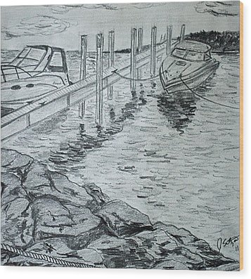 Boats By Mackinac Wood Print by Jason Sotzen