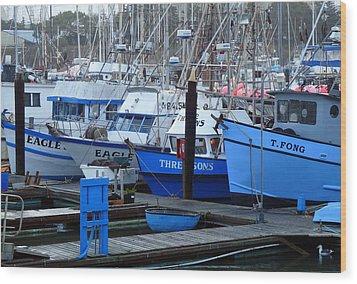 Boats Docked In Harbor Wood Print by Jeff Lowe