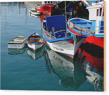 Wood Print featuring the photograph Boats In Los Christianos by Barbara Walsh