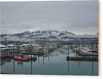 Boats In Marina With Snow Capped Wood Print by Jorge Fajl