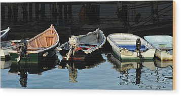 Boats Wood Print by Joanne Brown