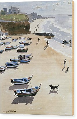 Boats On The Beach Wood Print by Lucy Willis