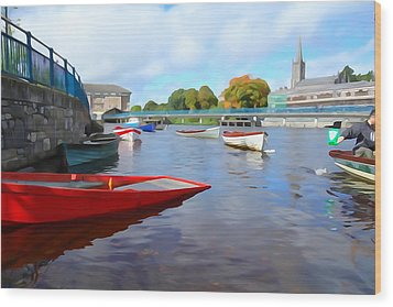 Wood Print featuring the photograph Boats On The Garavogue by Charlie and Norma Brock