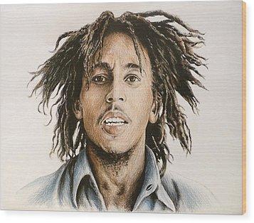 Bob Marley Wood Print by Andrew Read