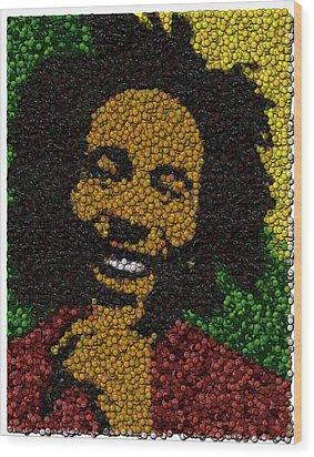 Bob Marley Bottle Cap Mosaic Wood Print by Paul Van Scott