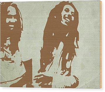 Bob Marley Brown 2 Wood Print by Naxart Studio