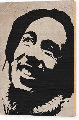 Bob Marley Grey And Black Wood Print by Naxart Studio