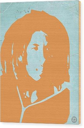 Bob Marley Yellow 2 Wood Print by Naxart Studio