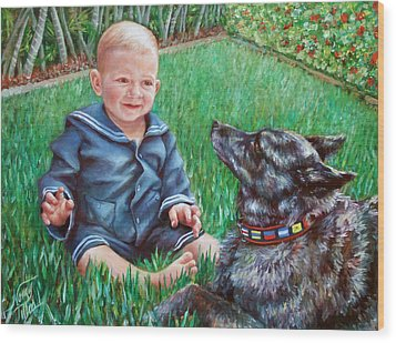 Wood Print featuring the painting Bobby And Cinder by Nancy Tilles