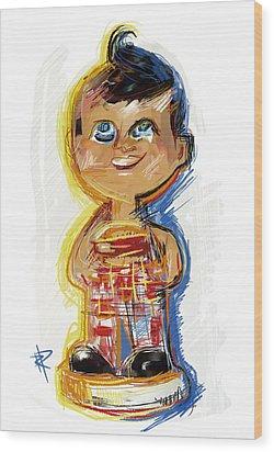 Bob's Big Boy Bobble Head Wood Print by Russell Pierce