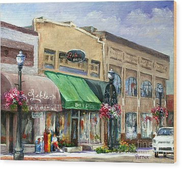 Bob's Grill Wood Print by Virginia Potter
