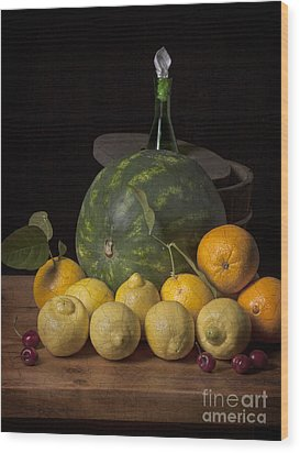 Bodegon - Watermelon-citrus And Cooler Wood Print by Levin Rodriguez