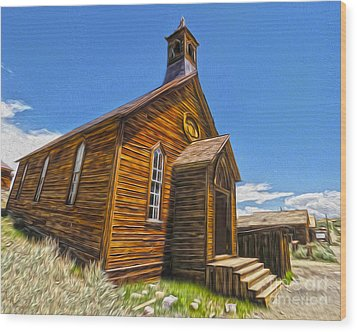 Bodie Ghost Town - Church 04 Wood Print by Gregory Dyer