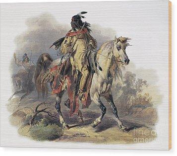 Bodmer: Blackfoot Horseman Wood Print by Granger