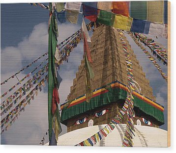 Bodnath Stupa Wood Print by Nina Papiorek
