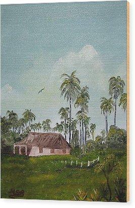 Bohio Y Palmeras Wood Print by Maria Soto Robbins
