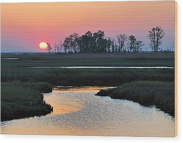 Bombay Hook Sunrise Wood Print