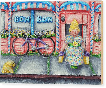 Bon Bon Betty Wood Print by Alison  Galvan