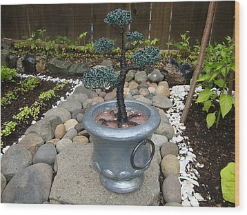 Bonsai Tree Medium Silver Vase Wood Print by Scott Faucett