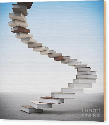 Book Stair Wood Print by Gualtiero Boffi
