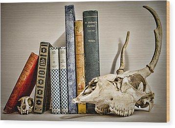 Books And Bones Wood Print by Heather Applegate