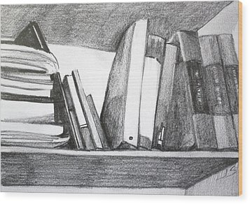 Books On A Shelf Wood Print by Jan Swaren