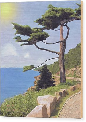 Wood Print featuring the digital art Boothbay Pine by Richard Stevens