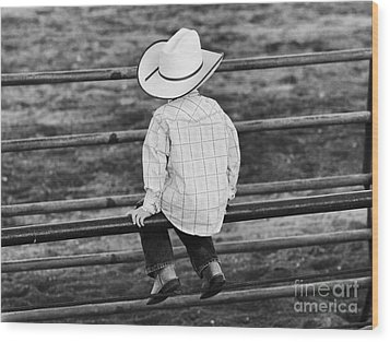 Born To Be A Cowboy Wood Print