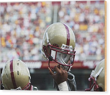 Boston College Helmet Wood Print by John Quackenbos
