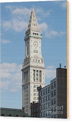 Boston Custom House Tower Wood Print by Clarence Holmes
