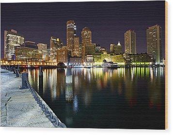 Boston Harbor Nightscape Wood Print by Shane Psaltis