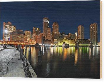Boston Harbor Skyline  Wood Print by Shane Psaltis